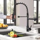 Matte Black Kitchen Faucet Sink Single Handle Pull Down Sprayer Swivel Mixer Tap