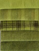 CHARTREUSE HAND DYED WOOL BUNDLE FOR RUG HOOKING OR APPLIQUE. 5/16 YD