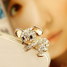 Cute Gold Crystal Bear Koala Anti Dust Earphone Jack Plug For iPhone 5S/6 Mobile