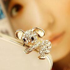 Cute Gold Crystal Bear Koala Anti Dust Earphone Jack Plug For iPhone 5S/6 Mobile