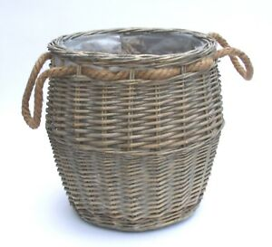 Round Natural Brown Grey Willow Log Storage Container Jute Handles Lined Basket