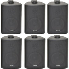 "6x 60W 2 Way Black Wall Mounted Stereo Speakers - 3"" 8Ohm- Mini Background Music"