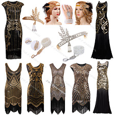 Vintage 1920s Flapper Dress Gatsby Ladies Sequin Fringe Fancy Party 20s Costume