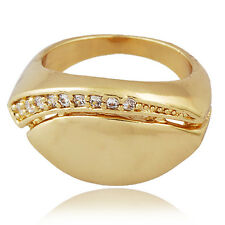 CUTE Clear clear crystal Yellow Gold plated Womens wedding ring Size 9
