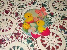 """Vtg Dennison Easter Chick Die Cut Cardboard Decoration 7"""" Basket Eggs Ribbon #1"""