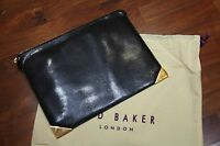 Ted Baker MARLAYN Metal corner Black leather pouch folder wallet RRP £70