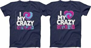 Love Crazy Girlfriend Boyfriend Valentine TieDyee font Colors Matching Shirts