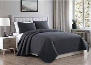 100%Cotton 3Pcs King Size Quilt Set  Bedding Coverlet Solid  Dark Grey