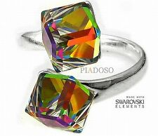 SWAROVSKI CRYSTALS *VITRAIL RING* EVERY SIZE ADJUSTABLE RING STERLING SILVER