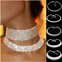 Women Crystal Rhinestone Necklace Silver Wedding Party Choker Chain UK