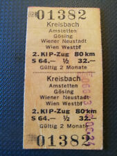 Eisenbahn Fahrkarte  1978  Kreisbach - Wien