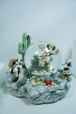 Two Guns Mickey Snow Globe With Box Home on the Range Disney Store Mouse