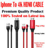 iphone to 4k hdmi Cable Ultra HD TV AV adaptor iPhone 12 Pro Max 11 X XR XS 8 7