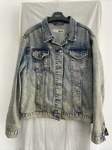 TOPSHOP MOTO Blue Denim Jacket Size UK 12