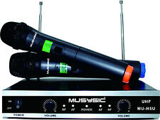 MUSYSIC Professional Dual Channel UHF Wireless Handheld Microphone System MU-H5U