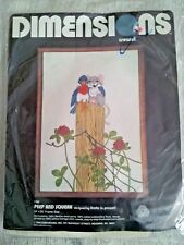 Dimensions Peep and Squeak Crewel Embroidery Kit Vtg 1980 Bird Mouse Unopened