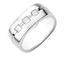 Princess Cut 18k Solid White Gold Diamond Men's Ring 0.60 Carat