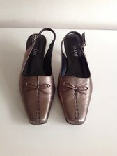 Van Dal Classic (Penny) Bronze Leather Slingback Low Heel Shoes Size 5.5