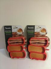 2 New Packs Tovolo Bacon Breakfast Mold Shaper Pancakes Eggs Red Silicone