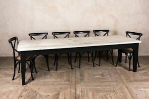 250CM COUNTRY FARMHOUSE KITCHEN TABLE RECLAIMED PINE PAINTED BASE BURFORD