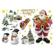 Removable Merry Christmas Santa Claus Wall Window Stickers PVC Art Decals Decor