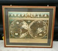 MAP OF THE WORLD Framed Gold Style Blaeu Map Picture