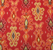 """RICHLOOM SIAM CORAL RED D4169 IKAT ORANGE YELLOW MULTIUSE FABRIC BY YARD 54""""W"""