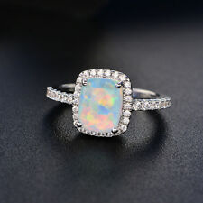 Luxury White Blue Green Fire Opal Silver Wedding Ring White Gold Gifts Size 5-11