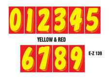 Car Dealer Windshield Stickers 11 1/2 Inch Numbers Red and Yellow 24 packs