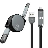 Universal Retractable Charger 2 in 1 Type C Port Micro USB Cable For Android New