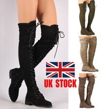 UK Womens Thigh High Over The Knee Low Heel Flat Lace Up Boots Zipper Shoes Size