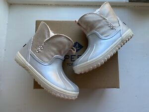 Sperry Toddler Girls Waypoint Silver Blush Boots Size 8 New