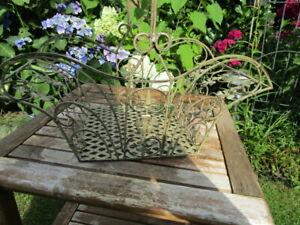 Deko Metall Korb eckig Blumen  ca. 47x25x19cm