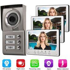 7 Zoll Video Türsprechanlage Sprechanlage Gegensprechanlage für 3 Familienhaus