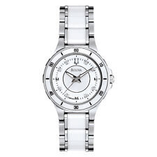 Bulova Women's 98P124 White Dial Ceramic Two-Tone Bracelet 30mm Watch