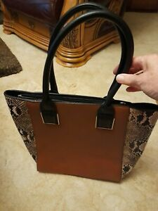 TOTE BAG BROWN COLOUR FAUX LEATHER AND SNAKESKIN.