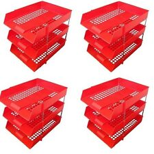 12 RED A4 Letter Filing In Out Desk Trays + 8 Risers Stacking Paper Office