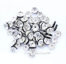 100 8mm Black Silver Plated CZ Crystal Rhinestone Spacer Loose Beads Findings V5