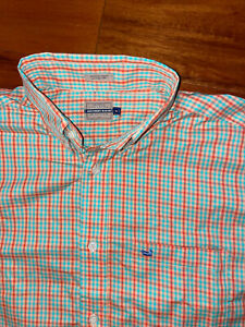 Southern Marsh Logo Plaid Button Down Short Sleeve Shirt Men's Size Medium