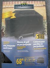"""Great Out Doors Pvc/Polyester Black Gas Grill Cover 68"""" x 20"""" x 38"""" L8498 New"""