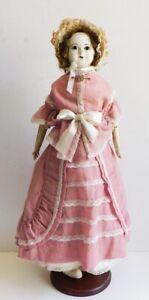 "Antique Wax Over Paper Mache Doll Glass Eyes England Slit Head 19"" Pink Dress"