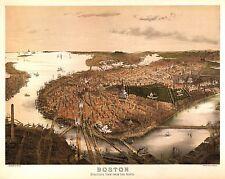 4 Riproduzione Plans di Boston Massachusetts Vecchio Antico Colore Poster