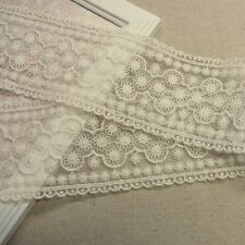 Embriodered Tulle Lace Trim Fabric Lovely Flower Vintage Style 6cm Wide Ivory