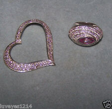 Set Lot QVC Sterling silver 925-Big Bold Wide Pink Marquise Ring & pave Pendant