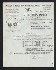 """EXCIDEUIL (24) ATELIER de FORGE , D'OUTILLAGE ELECTRIQUE """"J.R. BREGEGERE"""" en1950"""