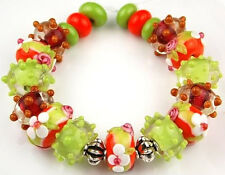 Lampwork Glass Beads Handmade Lime Orange White Flower Loose Rondelle Spacer