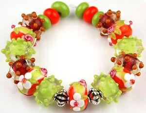 19 PCS Lampwork Glass Beads Handmade Lime Orange White Flower Rondelle Spacer