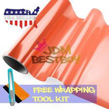 "*12""x48"" Glossy Amber Orange Tint Taillights Side Markers Fog Light Vinyl Film"