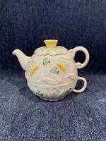 Belleek ASIS Porcelain China Daffodil Tea for One Teapot Tea Cup Cream Yellow