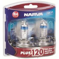 NARVA H4 +120% PLUS 120 HALOGEN LIGHT BULBS GLOBES NEW 12V 48362BL2